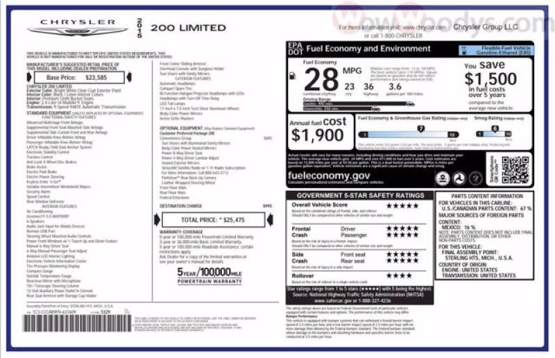 2015 Chrysler 200 Limited 4dr Sedan - Chillicothe MO