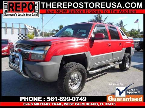 2002 Chevrolet Avalanche for sale at The Repo Store - 624 SOUTH MILITARY TRAIL LOT 1 in West Palm Beach FL