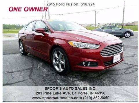 2015 Ford Fusion for sale at SPOOR'S AUTO SALES INC. in La Porte IN