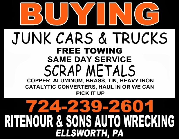 2016 BUYING CARS Any Condition for sale at RITENOUR & SONS AUTO SALES in Ellsworth PA