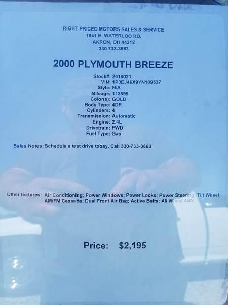 2000 Plymouth Breeze 4dr Sedan - Akron OH