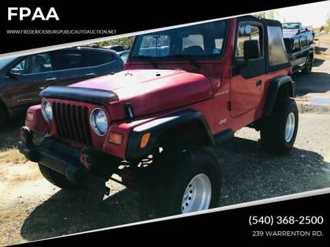 1998 Jeep Wrangler for sale at FPAA in Fredericksburg VA