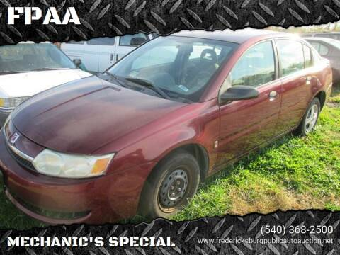 2003 Saturn Ion for sale at FPAA in Fredericksburg VA