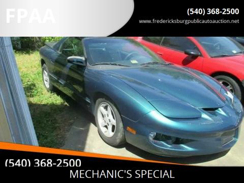 1998 Pontiac Firebird for sale at FPAA in Fredericksburg VA
