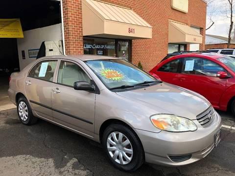 2003 Toyota Corolla for sale at Used Cars of Fairfax LLC in Woodbridge VA
