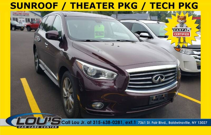 2013 Infiniti JX35 for sale at LOU'S CAR CARE CENTER in Baldwinsville NY
