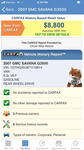 2007 GMC Savana Cargo 3500 3dr Cargo Van - Portland OR