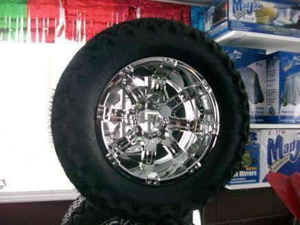 Octane Chrome 12 inch Wheels  for sale at Area 31 Golf Carts - Wheels in Acme PA