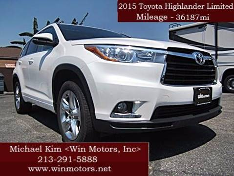 2015 Toyota Highlander for sale at Win Motors Inc. in Los Angeles CA
