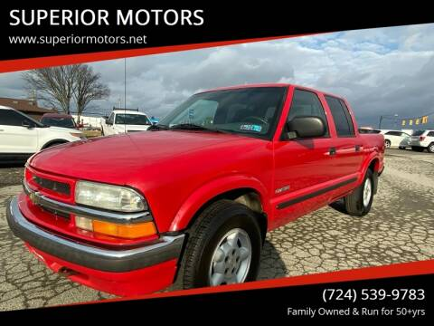 2002 Chevrolet S-10 LS for sale at SUPERIOR MOTORS in Latrobe PA