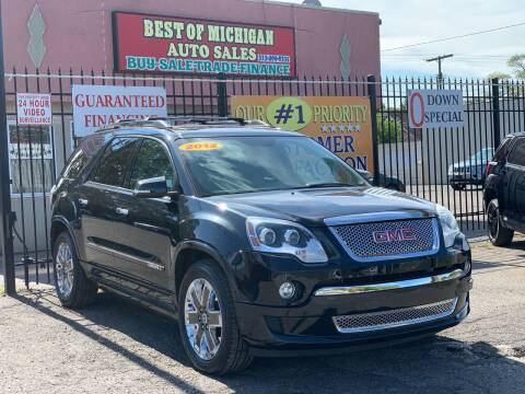 2012 GMC Acadia for sale at Best of Michigan Auto Sales in Detroit MI