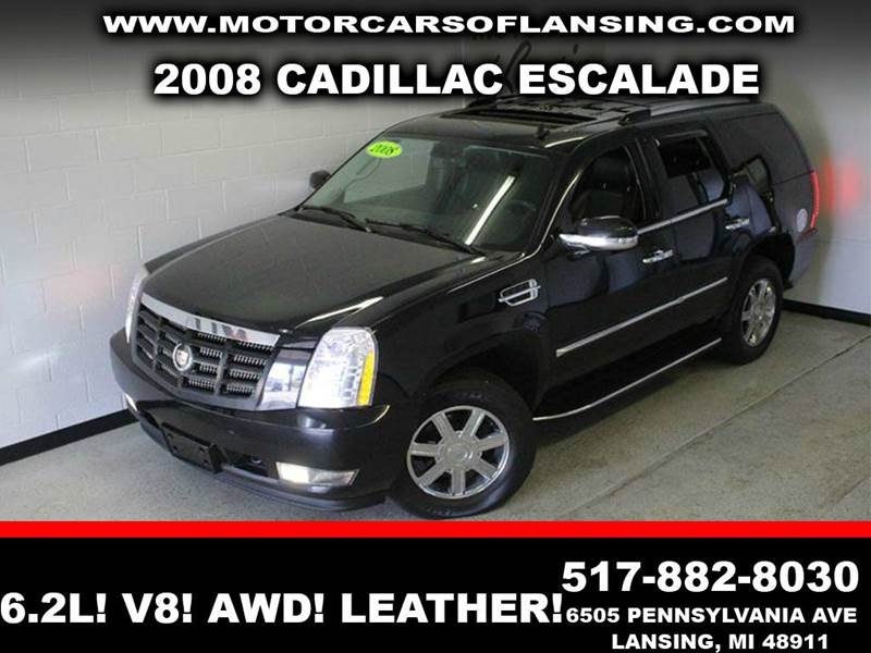 2008 CADILLAC ESCALADE BASE AWD 4DR SUV black 62l v8 awd leather sunroof third row seating c