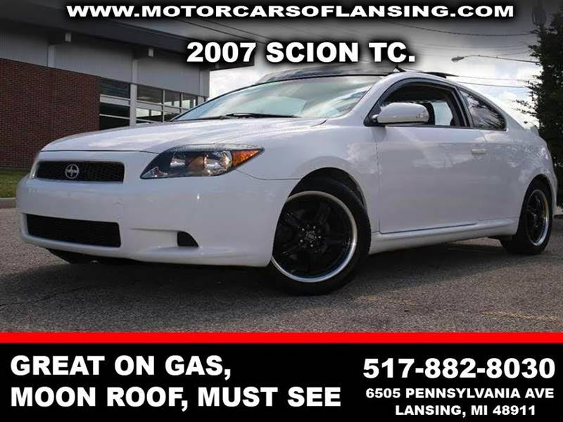 2007 SCION TC BASE 2DR HATCHBACK 24L I4 4A white great on gas moon roof clean  motorcars
