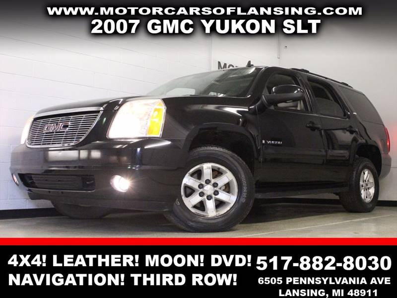 2007 GMC YUKON SLT black 4x4 leather sunroof dvd navigation bluetooth dual zone ac comes