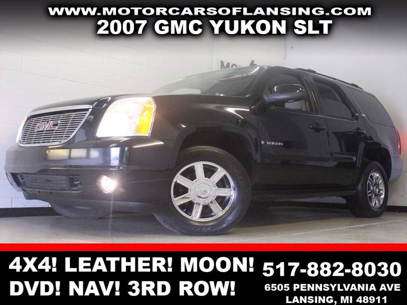 2007 GMC YUKON SLT 4DR SUV 4X4 W4SB W 2 PACKA black 4x4 leather sunroof dvd navigation blu