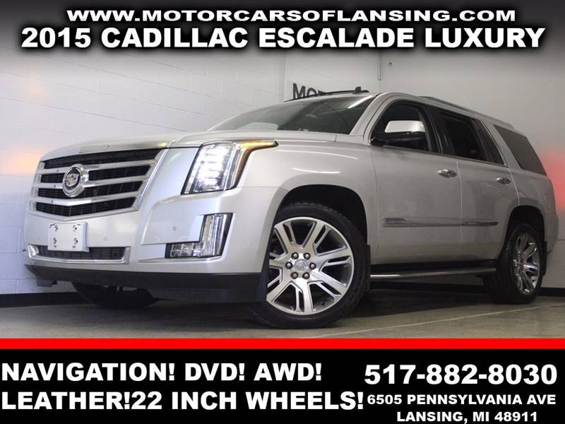 2015 CADILLAC ESCALADE LUXURY silver awd leather sunroof 22 inch wheels lane assist navigati