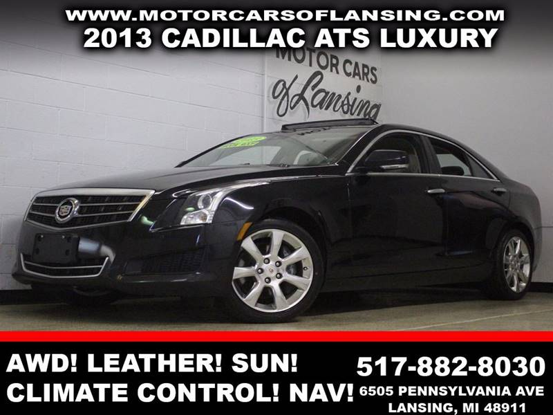 2013 CADILLAC ATS 20T LUXURY black leather sunroof navigation bluetooth climate control
