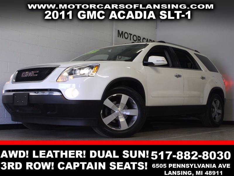 2011 GMC ACADIA SLT-1 AWD 4DR SUV white awd leather dual sunroof third row seating captain ch