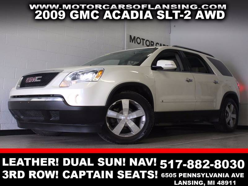 2009 GMC ACADIA SLT-2 white awd leather dual sunroof navigation bluetooth third row seating