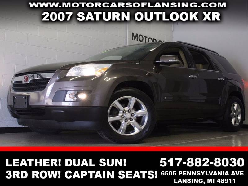 2007 SATURN OUTLOOK XR brown leather dual sunroof third row seating captain seats auxiliary