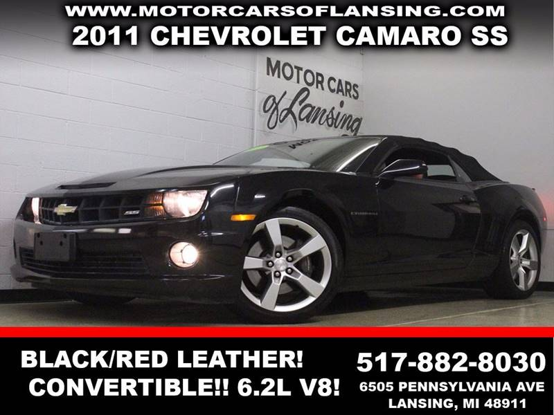 2011 CHEVROLET CAMARO SS 2DR CONVERTIBLE W2SS black 62l v8 blackred leather auxiliary usb