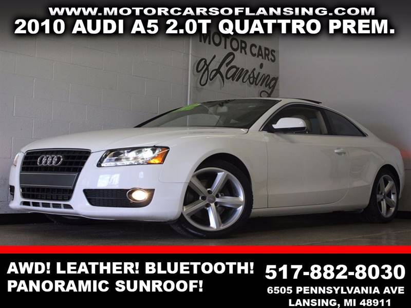 2010 AUDI A5 20T QUATTRO PREMIUM PLUS AWD 2D white awd leather panoramic sunroof bluetooth f