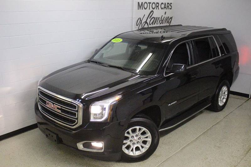 2015 GMC YUKON SLE 4X4 4DR SUV black 4x4 third row seating bluetooth navigation onstar flex