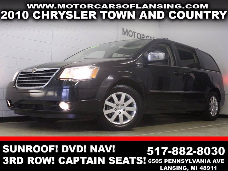 2010 CHRYSLER TOWN AND COUNTRY TOURING 4DR MINI VAN black sunroof third row seating captain cha