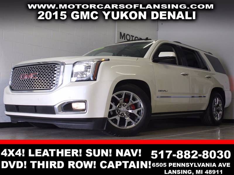 2015 GMC YUKON DENALI 4X4 4DR SUV pearl 4x4 leather power running boards  sunroof navigation