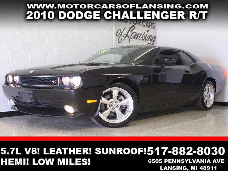 2010 DODGE CHALLENGER RT 2DR COUPE black 57l v8 leather sunroof usb auxiliary hemi 3 mo