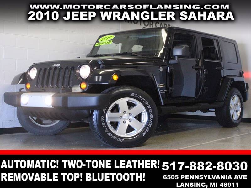 2010 JEEP WRANGLER UNLIMITED SAHARA 4X4 4DR SUV black v6 4x4 two-tone leather removable top u