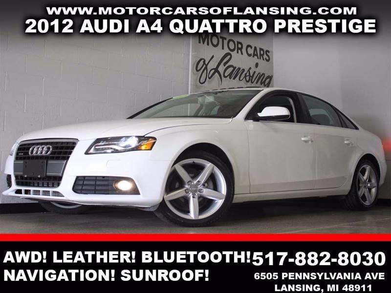 2012 AUDI A4 20T QUATTRO PRESTIGE AWD 4DR SE white awd turbocharged leather sunroof navigati
