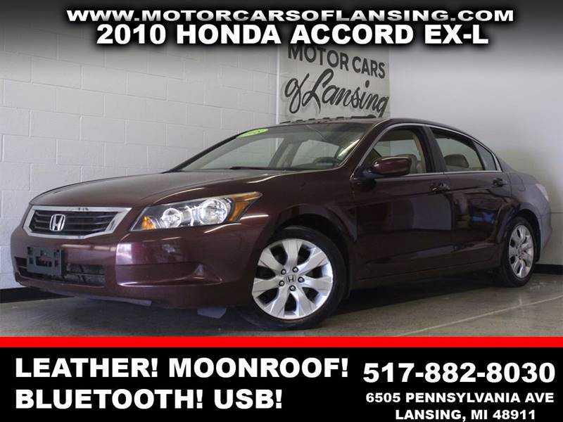 2010 HONDA ACCORD EX-L 4DR SEDAN 5A burgundy leather moonroof auxiliary bluetooth  3 month