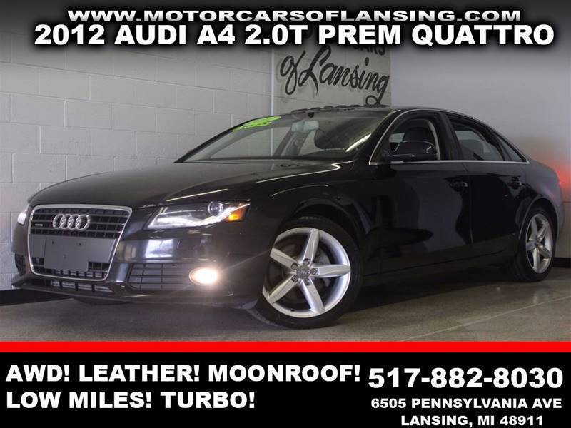 2012 AUDI A4 20T QUATTRO PREMIUM AWD 4DR SED black awd leather moonroof low miles bluetooth