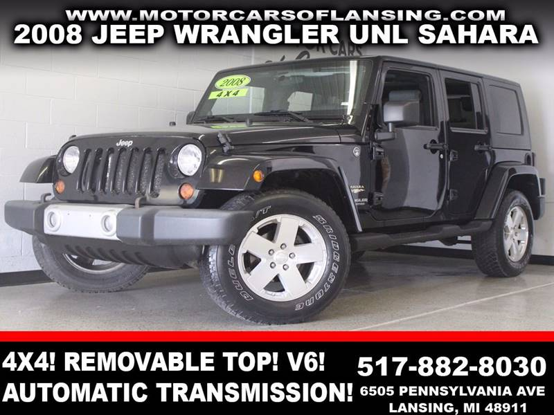 2008 JEEP WRANGLER UNLIMITED SAHARA 4X4 4DR SUV black 4x4 removable hard top usb auxiliary v6