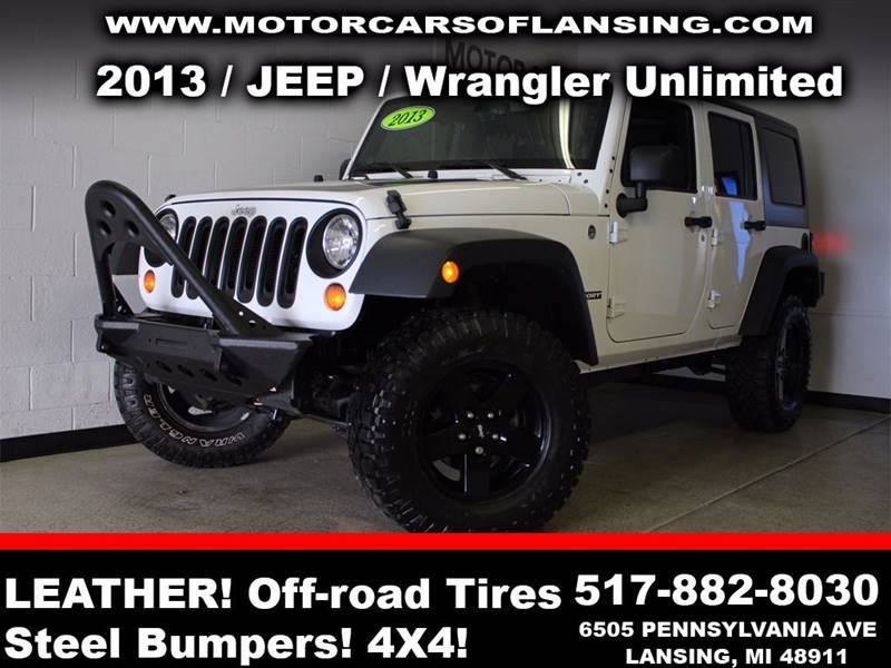 2013 JEEP WRANGLER UNLIMITED SPORT 4X4 4DR SUV white super clean interior giving you the new car