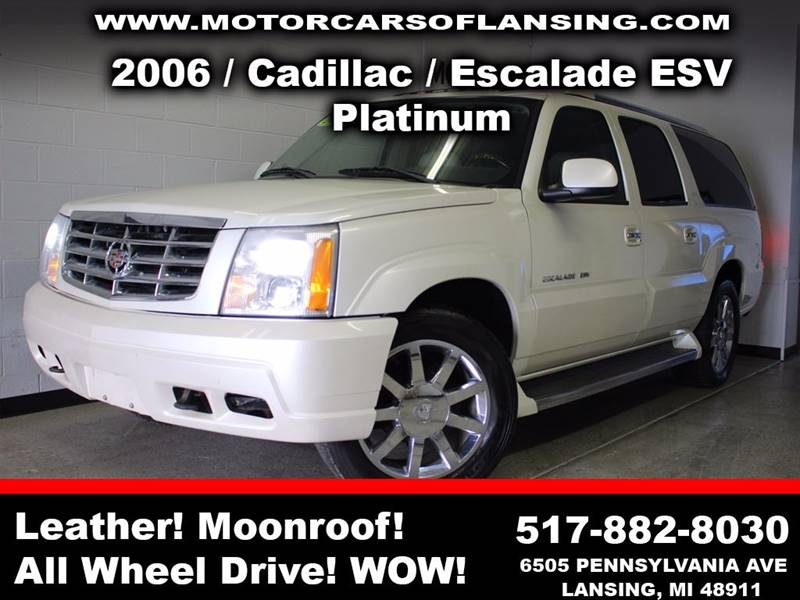 2006 CADILLAC ESCALADE ESV PLATINUM EDITION AWD 4DR SUV white room for the whole family with 3rd r