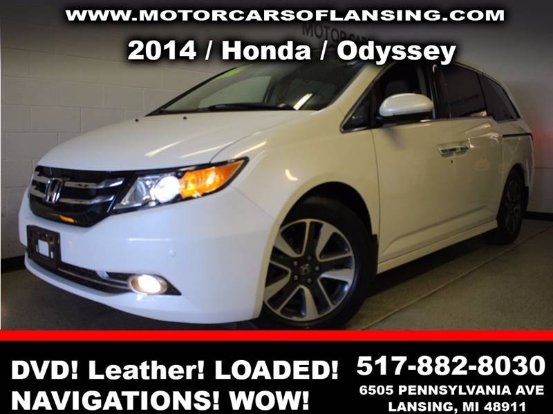 2014 HONDA ODYSSEY TOURING 4DR MINI VAN white sunroof leather wow this vehicle is loaded   all