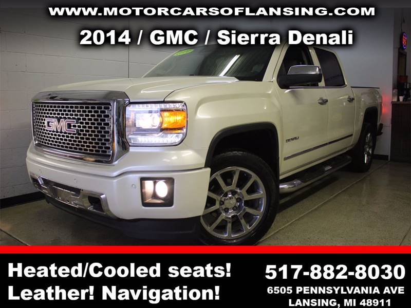 2014 GMC SIERRA 1500 DENALI 4X4 4DR CREW CAB 65 FT white drive comfortably this winter with heat