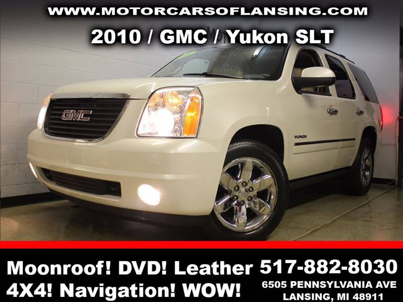 2010 GMC YUKON SLT 4X4 4DR SUV white sunroof leather wow this vehicle is loaded   all customers