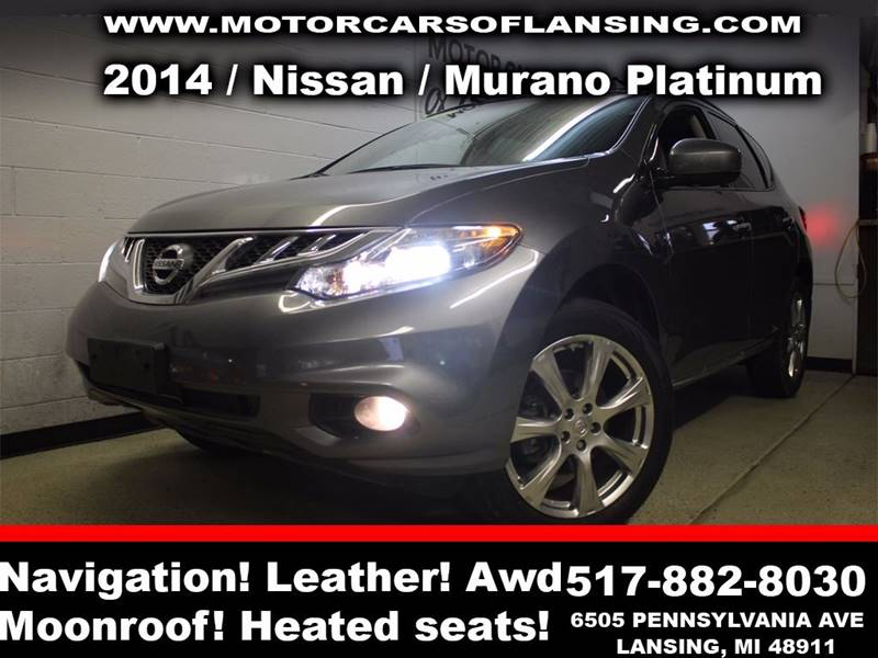2014 NISSAN MURANO PLATINUM EDITION AWD 4DR SUV gray sunroof leather wow this vehicle is loaded