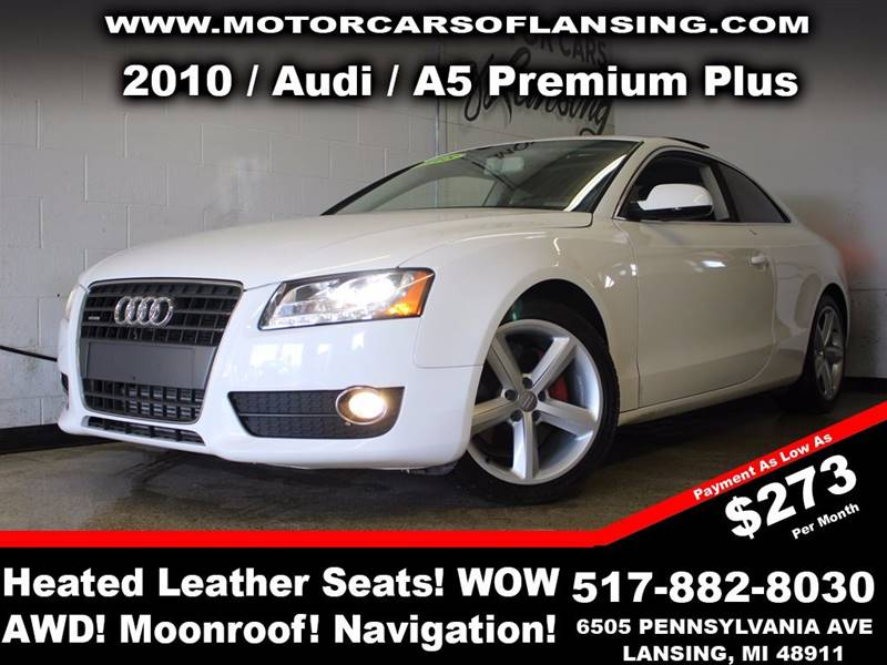 2010 AUDI A5 20T QUATTRO PREMIUM PLUS AWD 2D white this vehicle is ready for the michigan winter
