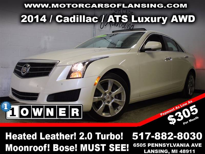 2014 CADILLAC ATS 20T LUXURY AWD 4DR SEDAN white this vehicle is ready for the michigan winters