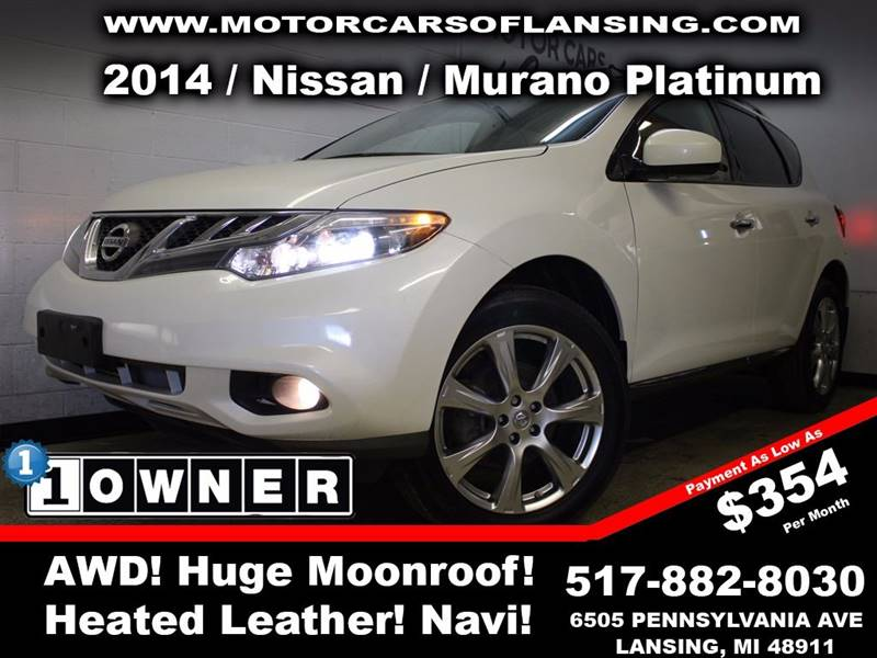 2014 NISSAN MURANO PLATINUM EDITION AWD 4DR SUV white this vehicle is ready for the michigan wint