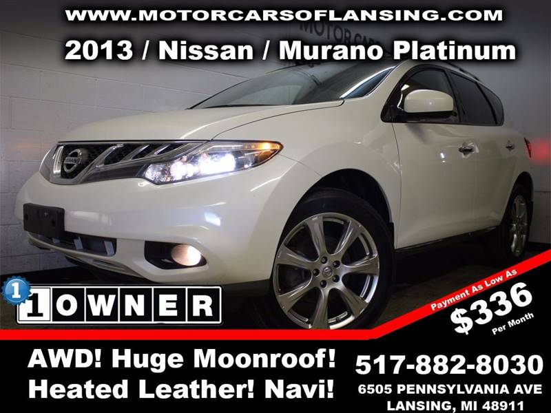 2013 NISSAN MURANO PLATINUM EDITION AWD 4DR SUV white this vehicle is ready for the michigan wint