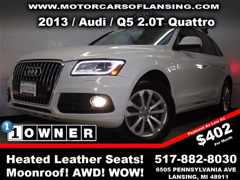 2013 AUDI Q5 20T QUATTRO PREMIUM AWD 4DR SUV white this vehicle is ready for the michigan winter