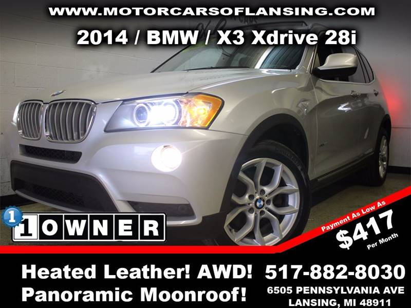 2014 BMW X3 XDRIVE28I AWD 4DR SUV silver this vehicle is ready for the michigan winters with its