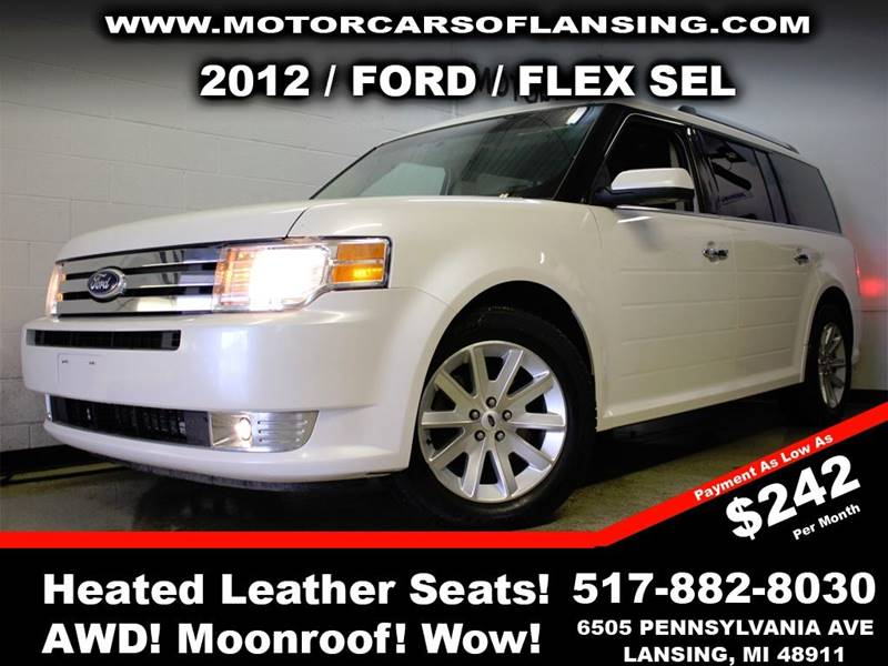 2012 FORD FLEX SEL AWD 4DR CROSSOVER white this vehicle is ready for the michigan winters with it
