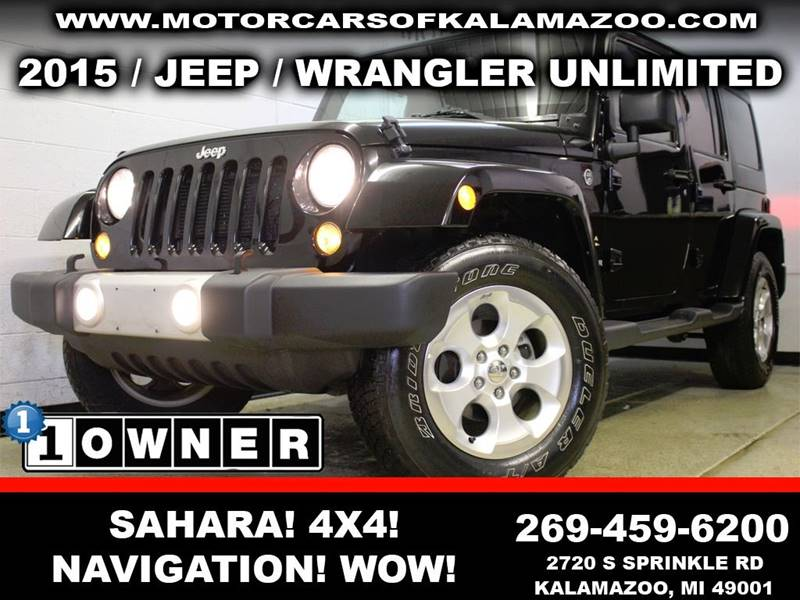 2015 JEEP WRANGLER UNLIMITED SAHARA 4X4 4DR SUV black rather youre on or off road this vehicle