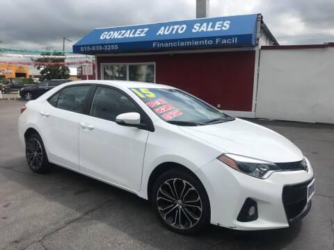 2015 Toyota Corolla for sale at Gonzalez Auto Sales in Joliet IL